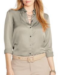 Lauren by Ralph Lauren | Metallic Plus Charmeuse Shirt | Lyst