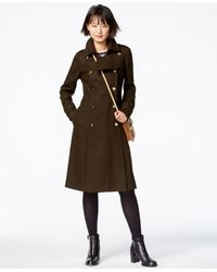 RACHEL Rachel Roy | Green Double-breasted Military Maxi Coat | Lyst