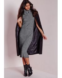Missguided | Gray Chunky Knitted Roll Neck Midi Dress Light Grey | Lyst