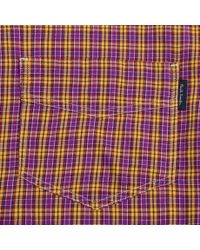 Paul Smith - Men's Purple And Yellow Mini-check Cotton-twill Shirt for Men - Lyst