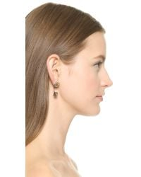 Rebecca Minkoff - Metallic Pyramid Front Back Post Earrings - Silver/Gold - Lyst
