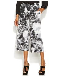 INC International Concepts - Green Wide-Leg Printed Gaucho Pants - Lyst