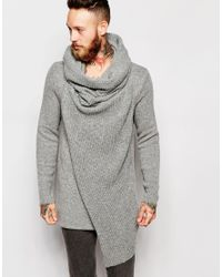 ASOS - Gray Jumper With Oversized Cowl Neck for Men - Lyst