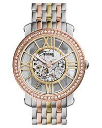 Fossil - Metallic 'boyfriend' Skeleton Dial Bracelet Watch - Lyst
