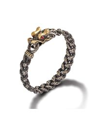 John Hardy | Metallic Dragon Head Bracelet On Small Braided Chain With Oxidation for Men | Lyst