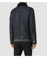 AllSaints | Blue Pilot Shearling Jacket for Men | Lyst