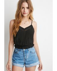 Forever 21 - Black Crocheted Cami Crop Top - Lyst