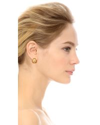 Tory Burch - Metallic Caras Flower Stud Earrings Ivoryshiny Brass - Lyst