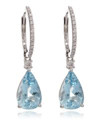 Kojis | Blue White Gold and Aquamarine Diamond Hoop Earrings | Lyst