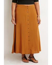 Forever 21 | Brown Plus Size Buttoned High-slit Maxi Skirt | Lyst