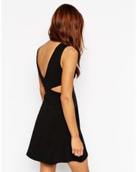 ASOS | Black Petite 90s Skater Dress With Metal Ring And Cut Out Sides | Lyst
