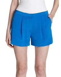 Vince - Blue Silk Pleated Shorts - Lyst