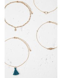 Forever 21 | Metallic Tassel And Feather Anklet Set | Lyst