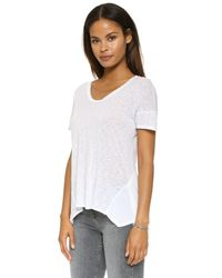 Splendid - Slubbed Jersey Scoop Neck Tee - White - Lyst