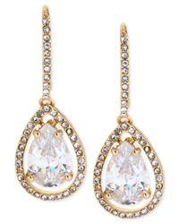 Betsey Johnson - Metallic Gold-Tone Clear Crystal Teardrop Earrings - Lyst