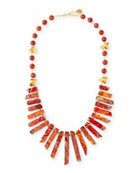 Devon Leigh - Pink Coral & Gold-dipped Nugget Necklace - Lyst