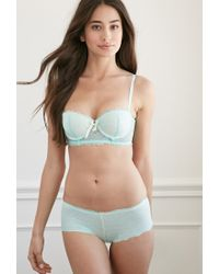 Forever 21 - Green Lace Push-up Balconette Bra - Lyst