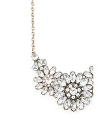 Forever 21 - Metallic Rhinestone Flower Statement Necklace - Lyst