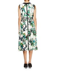 Proenza Schouler - Green Sleeveless Silk Georgette Split-neck Dress - Lyst