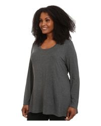 Lyssé - Gray Plus Size Scoop Drape Top - Lyst