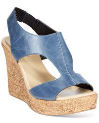 Callisto | Blue Teane Platform Wedge Sandals | Lyst