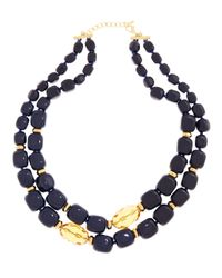 Brooks Brothers - Blue Stone Two Row Necklace - Lyst