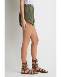 Forever 21 | Green Drawstring Cuffed Shorts | Lyst