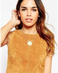 ASOS | Metallic Hammered Disc Necklace | Lyst
