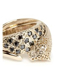 Iosselliani - Metallic Crystal Pavé Cheetah Head Ring - Lyst