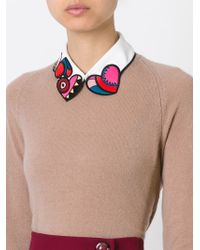 RED Valentino | White Embroidered Heart Collar | Lyst