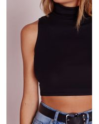 Missguided - Sleeveless Roll Neck Crop Top Black - Lyst