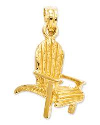 Macy's | Metallic 14k Gold Charm, Adirondack Beach Chair Charm | Lyst