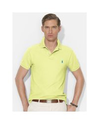 Polo Ralph Lauren - Yellow Slim-Fit Mesh Polo for Men - Lyst