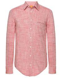 BOSS Orange | Red 'cieloebue' | Slim Fit, Cotton Slub Dobby Shirt for Men | Lyst