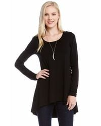 Karen Kane | Black Long Sleeve High/low Top | Lyst