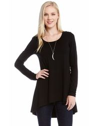 Karen Kane - Black Long Sleeve High/low Top - Lyst