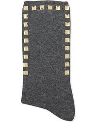 Alto Milano - Gray Stud Short Socks - Lyst
