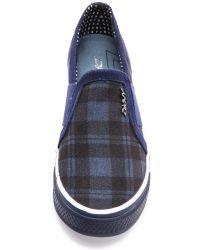 DKNY - Barrow Plaid Slip On Sneakers - Blue - Lyst