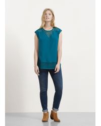 Violeta by Mango | Green Openwork Panel Blouse | Lyst