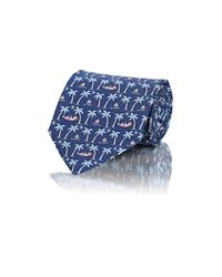 Ferragamo - Blue Men's Palm-tree-print Twill Necktie for Men - Lyst