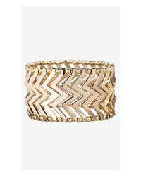 Express | Metallic Chevron Metal Stretch Bracelet | Lyst