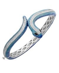 Lord & Taylor | Blue Sterling Silver Enamel Snake Bangle With White Topaz | Lyst