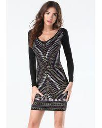 Bebe - Black Embellished Front Dress - Lyst