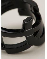 Saint Laurent | Black Monogram Ring | Lyst