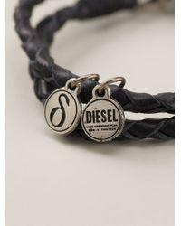 DIESEL - Blue Double Braided Bracelet - Lyst