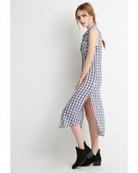 Forever 21 | Natural Midi Plaid Shirt Dress | Lyst