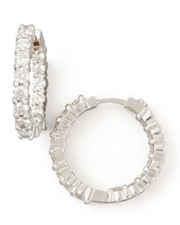 Roberto Coin | Metallic 23mm White Gold Diamond Hoop Earrings | Lyst