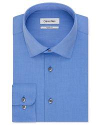Calvin Klein - Blue Textured Solid Dress Shirt for Men - Lyst