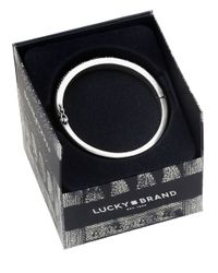 Lucky Brand | Metallic Pave Silvertone Bangle Bracelet | Lyst