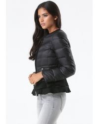 Bebe | Black Peplum Puffer Jacket | Lyst